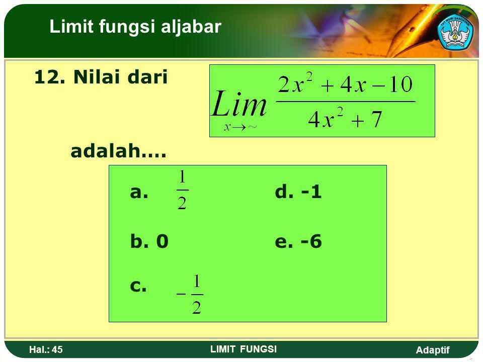 Limit fungsi aljabar 12. Nilai dari adalah…. a. d. -1 b. 0 e. -6 c.