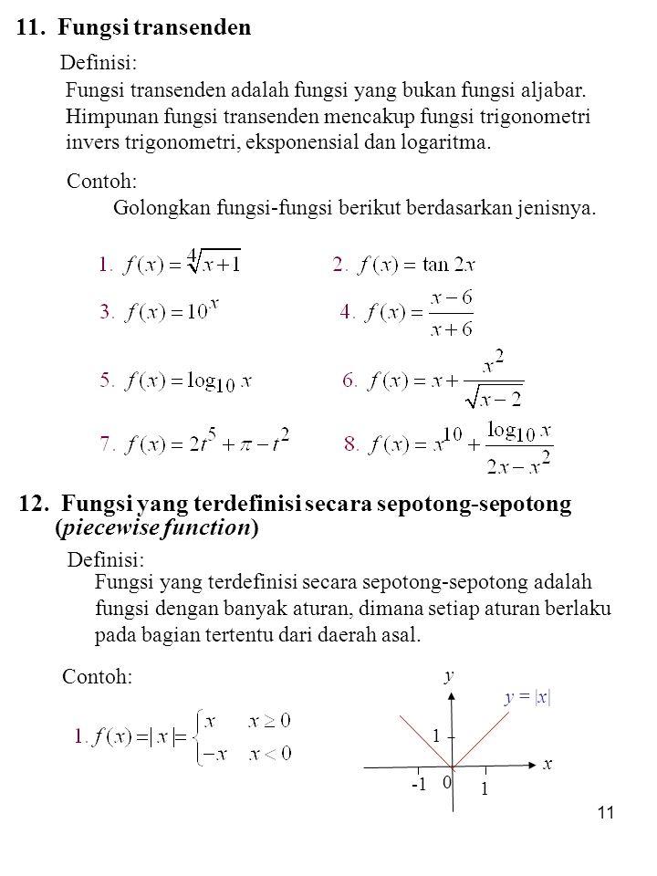 12. Fungsi yang terdefinisi secara sepotong-sepotong
