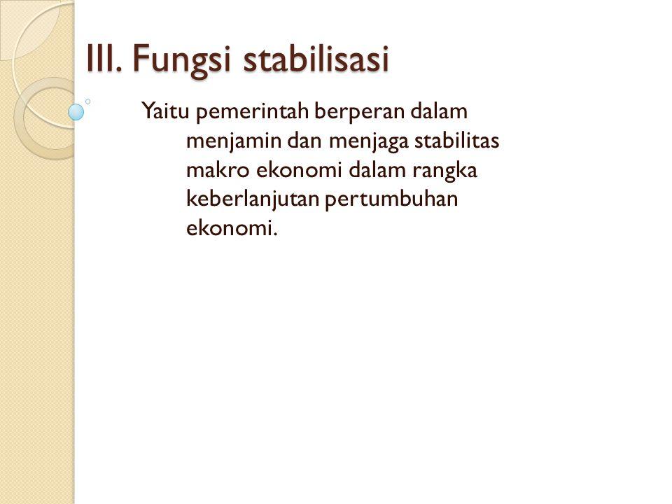 III. Fungsi stabilisasi