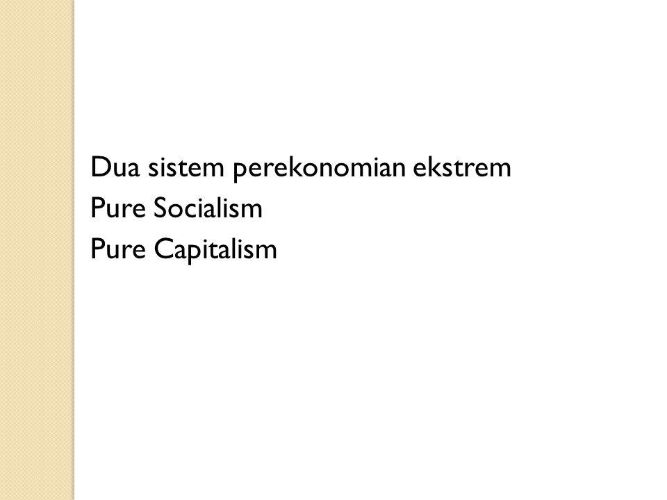 Dua sistem perekonomian ekstrem Pure Socialism Pure Capitalism