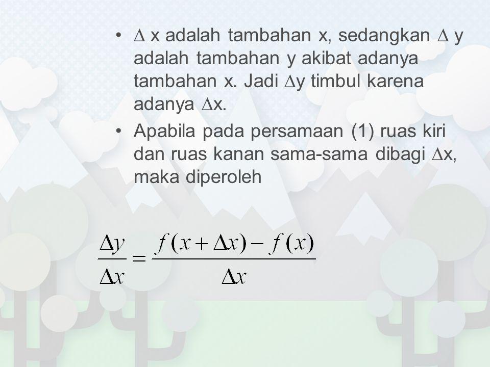 ∆ x adalah tambahan x, sedangkan ∆ y adalah tambahan y akibat adanya tambahan x. Jadi ∆y timbul karena adanya ∆x.