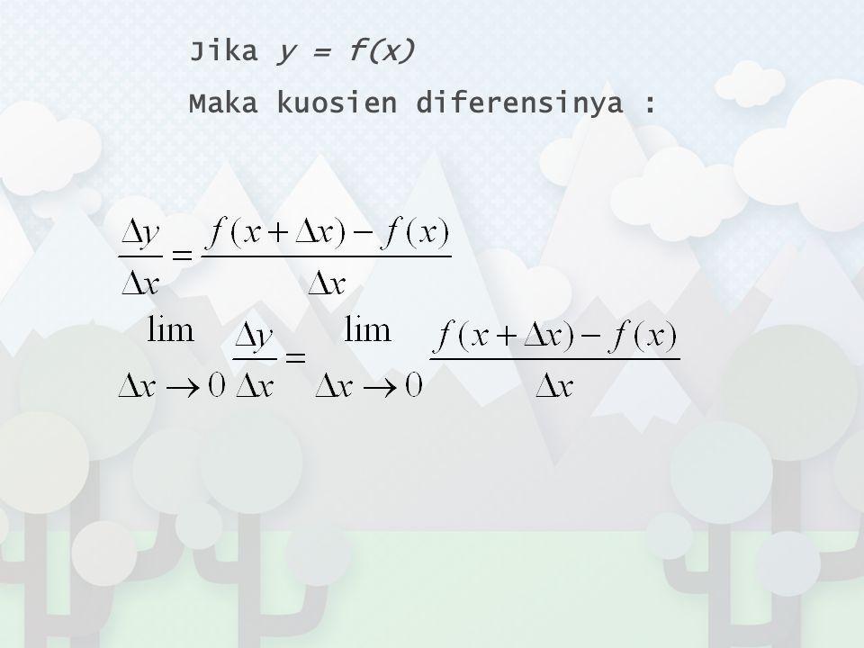 Jika y = f(x) Maka kuosien diferensinya :