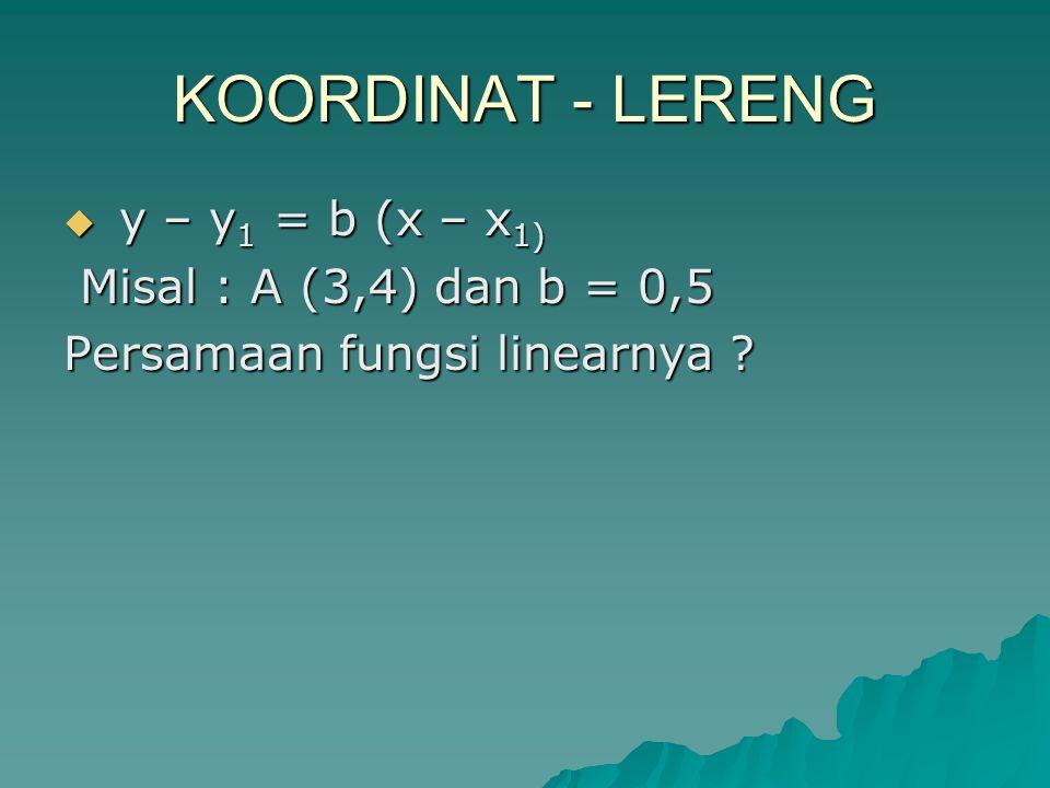 KOORDINAT - LERENG y – y1 = b (x – x1) Misal : A (3,4) dan b = 0,5