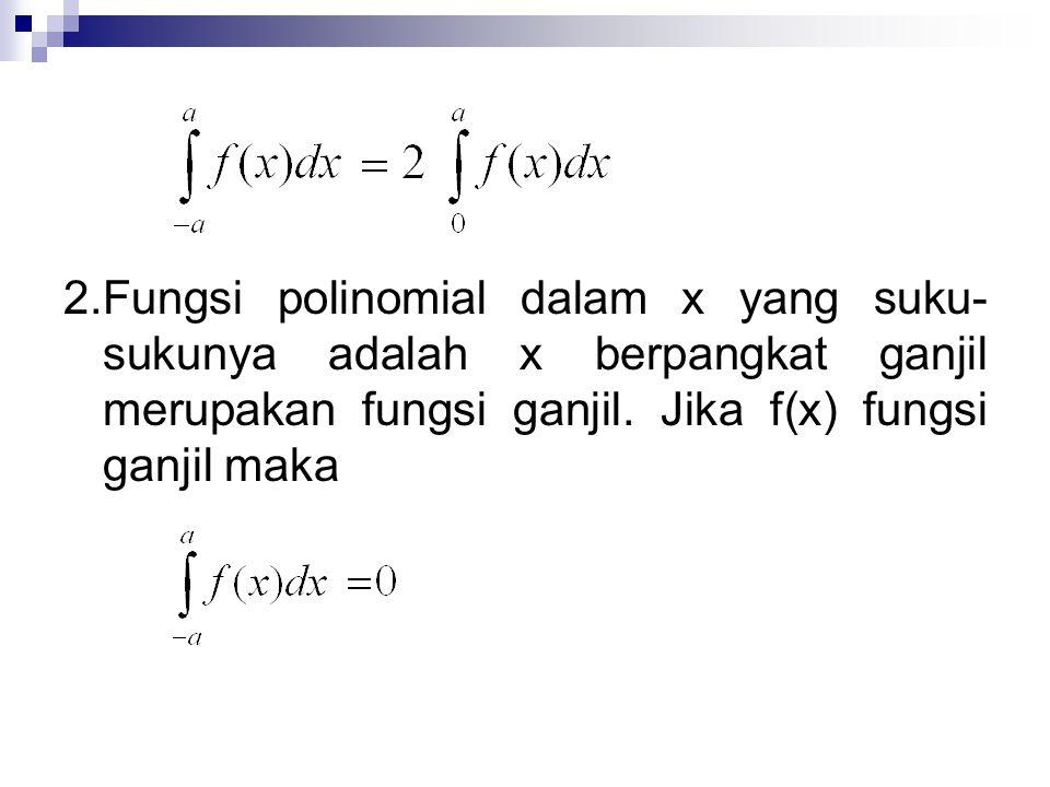 2. Fungsi polinomial dalam x yang suku-sukunya adalah x berpangkat ganjil merupakan fungsi ganjil.