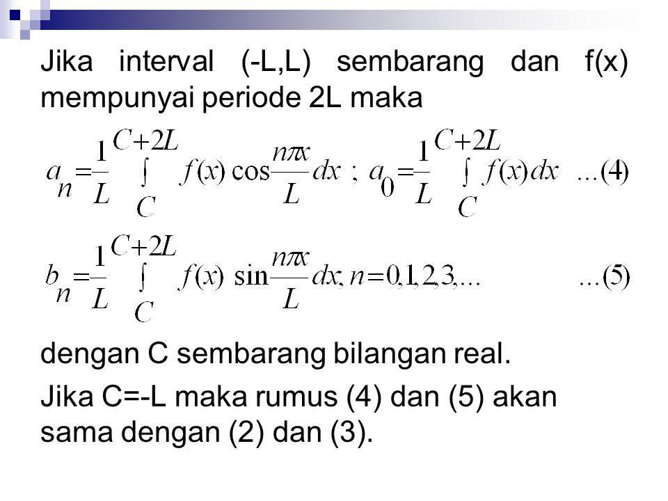 Jika interval (-L,L) sembarang dan f(x) mempunyai periode 2L maka