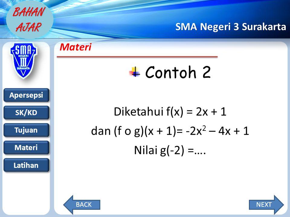 Contoh 2 Diketahui f(x) = 2x + 1 dan (f o g)(x + 1)= -2x2 – 4x + 1