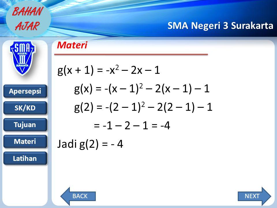 g(x + 1) = -x2 – 2x – 1 g(x) = -(x – 1)2 – 2(x – 1) – 1