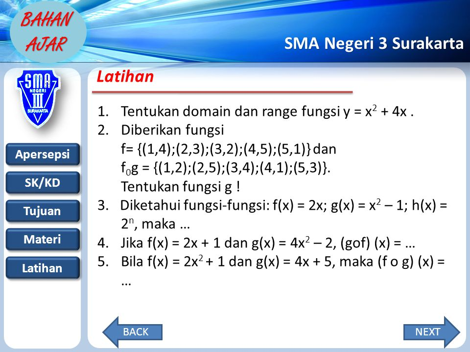 Latihan Tentukan domain dan range fungsi y = x2 + 4x .
