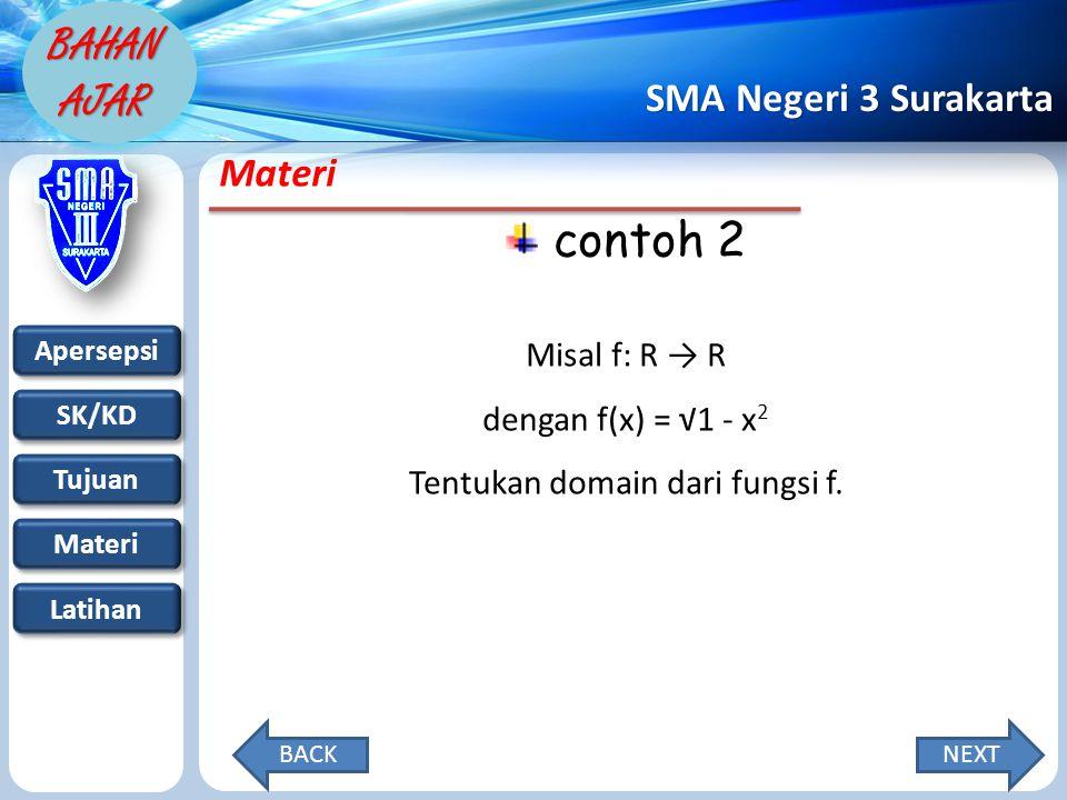 Tentukan domain dari fungsi f.
