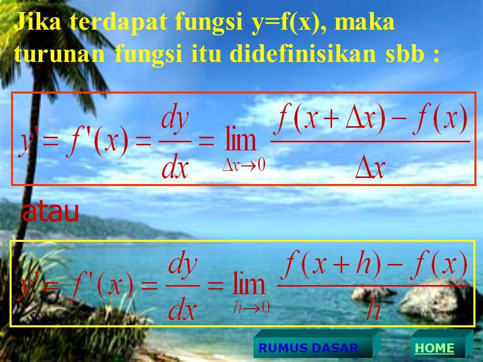 Jika terdapat fungsi y=f(x), maka turunan fungsi itu didefinisikan sbb :