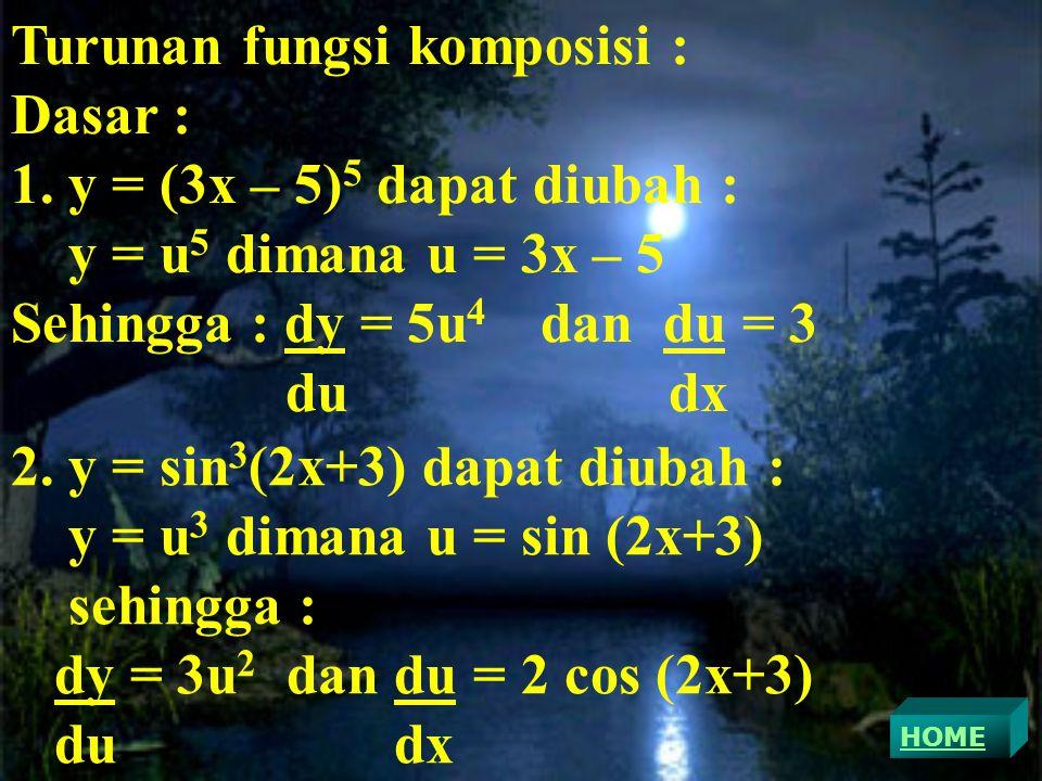 Turunan fungsi komposisi : Dasar : y = (3x – 5)5 dapat diubah :