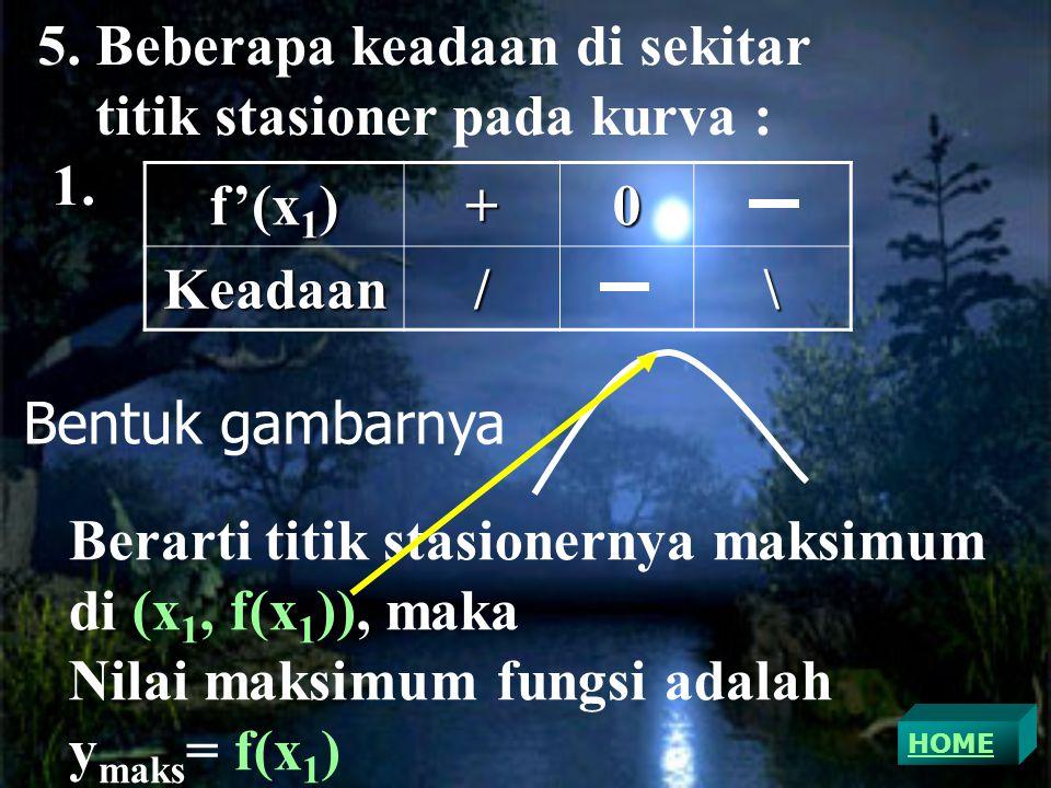5. Beberapa keadaan di sekitar titik stasioner pada kurva : 1. f'(x1)
