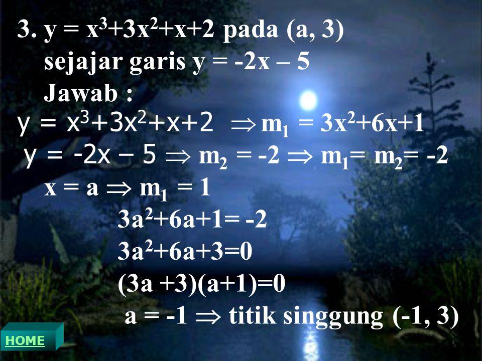 a = -1  titik singgung (-1, 3)