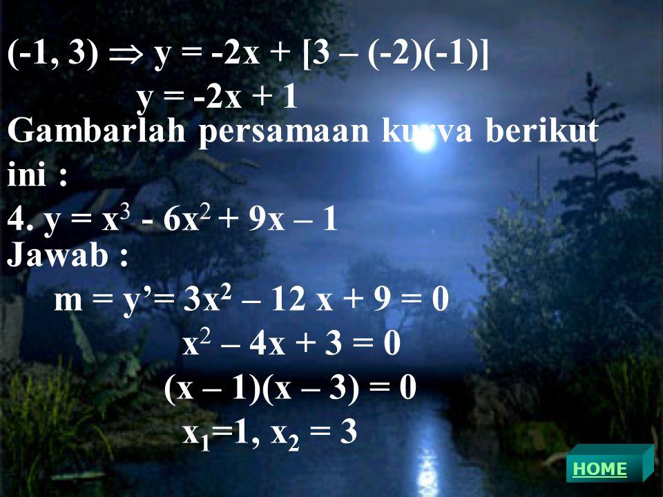 Gambarlah persamaan kurva berikut ini : 4. y = x3 - 6x2 + 9x – 1