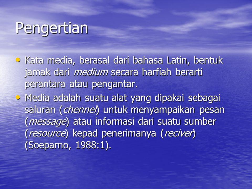 Pengertian Kata media, berasal dari bahasa Latin, bentuk jamak dari medium secara harfiah berarti perantara atau pengantar.