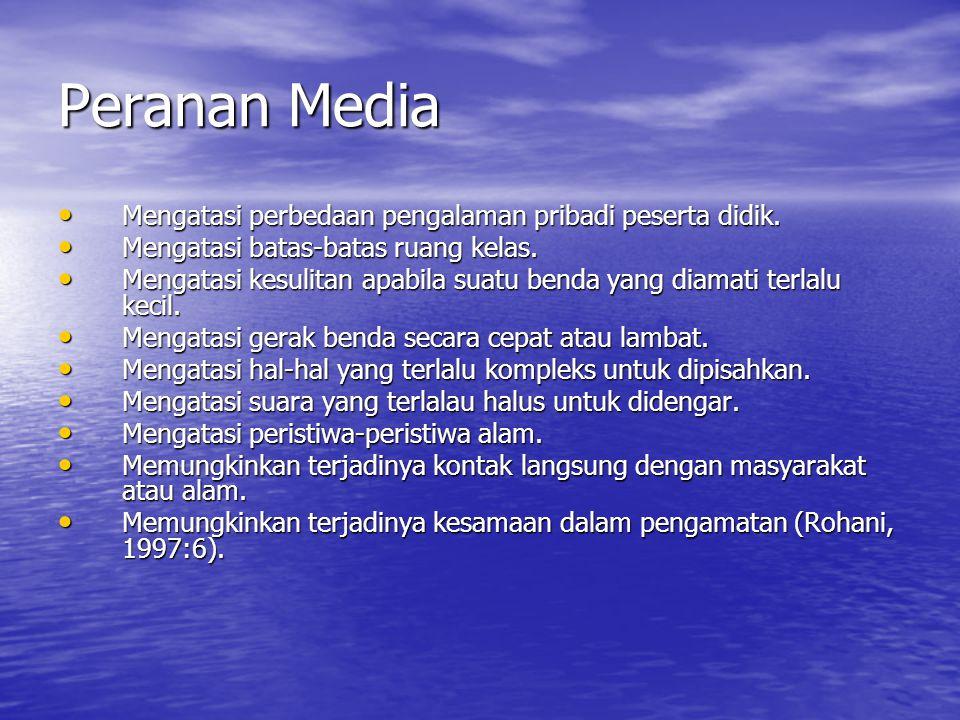 Peranan Media Mengatasi perbedaan pengalaman pribadi peserta didik.