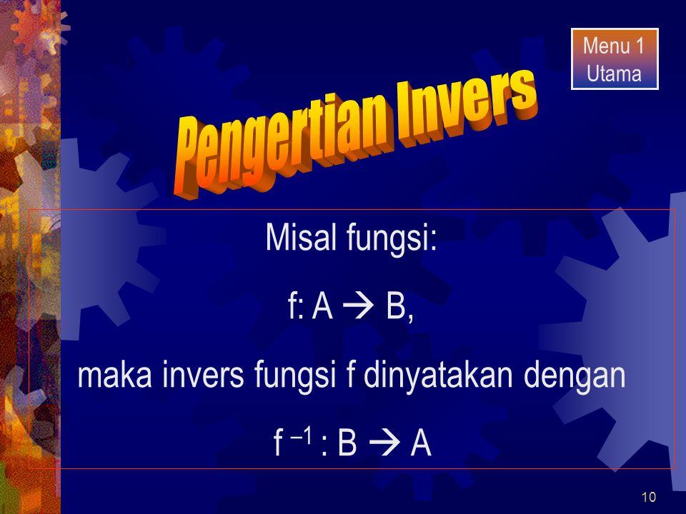 maka invers fungsi f dinyatakan dengan