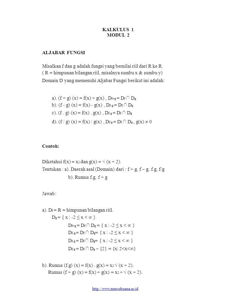 Misalkan f dan g adalah fungsi yang bernilai riil dari R ke R.