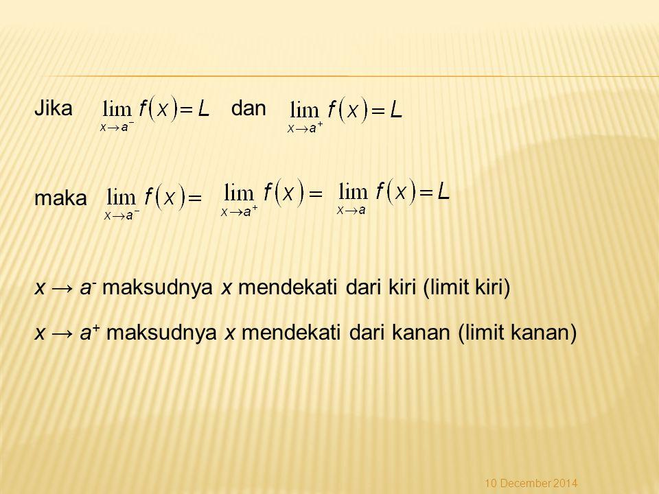 Jika dan maka x → a- maksudnya x mendekati dari kiri (limit kiri) x → a+ maksudnya x mendekati dari kanan (limit kanan)