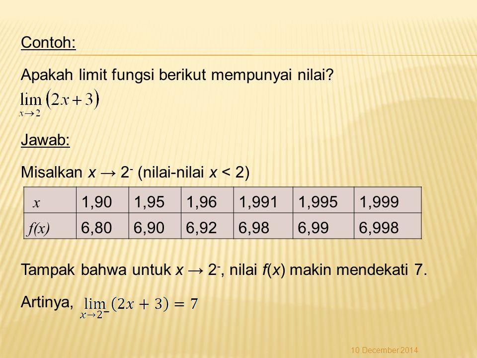 Apakah limit fungsi berikut mempunyai nilai