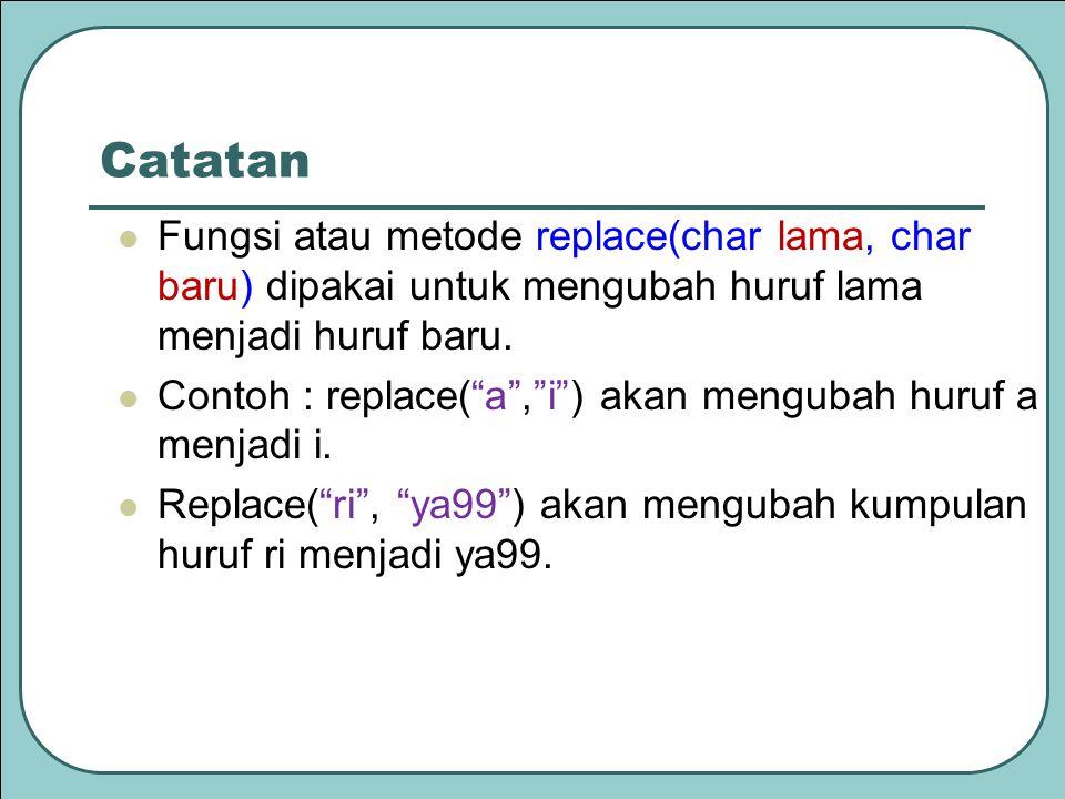 Catatan Fungsi atau metode replace(char lama, char baru) dipakai untuk mengubah huruf lama menjadi huruf baru.