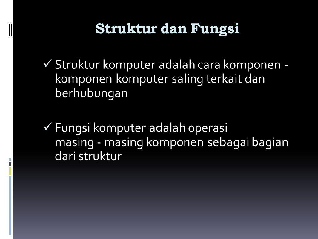 Struktur dan Fungsi Struktur komputer adalah cara komponen - komponen komputer saling terkait dan berhubungan.