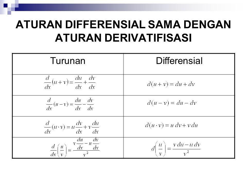 ATURAN DIFFERENSIAL SAMA DENGAN ATURAN DERIVATIFISASI