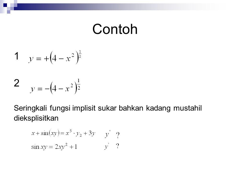 Contoh 1 2 Seringkali fungsi implisit sukar bahkan kadang mustahil