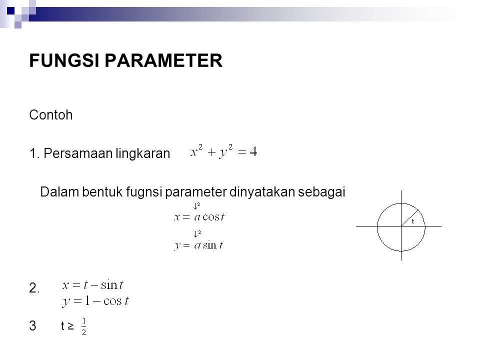 FUNGSI PARAMETER Contoh 1. Persamaan lingkaran