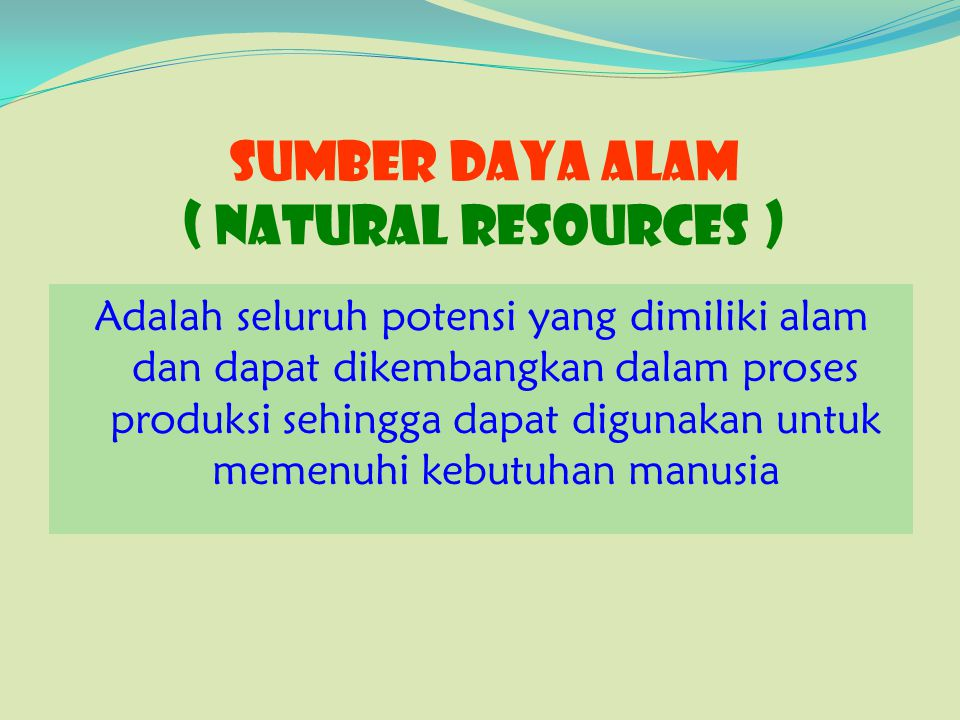 SUMBER DAYA ALAM ( Natural Resources )