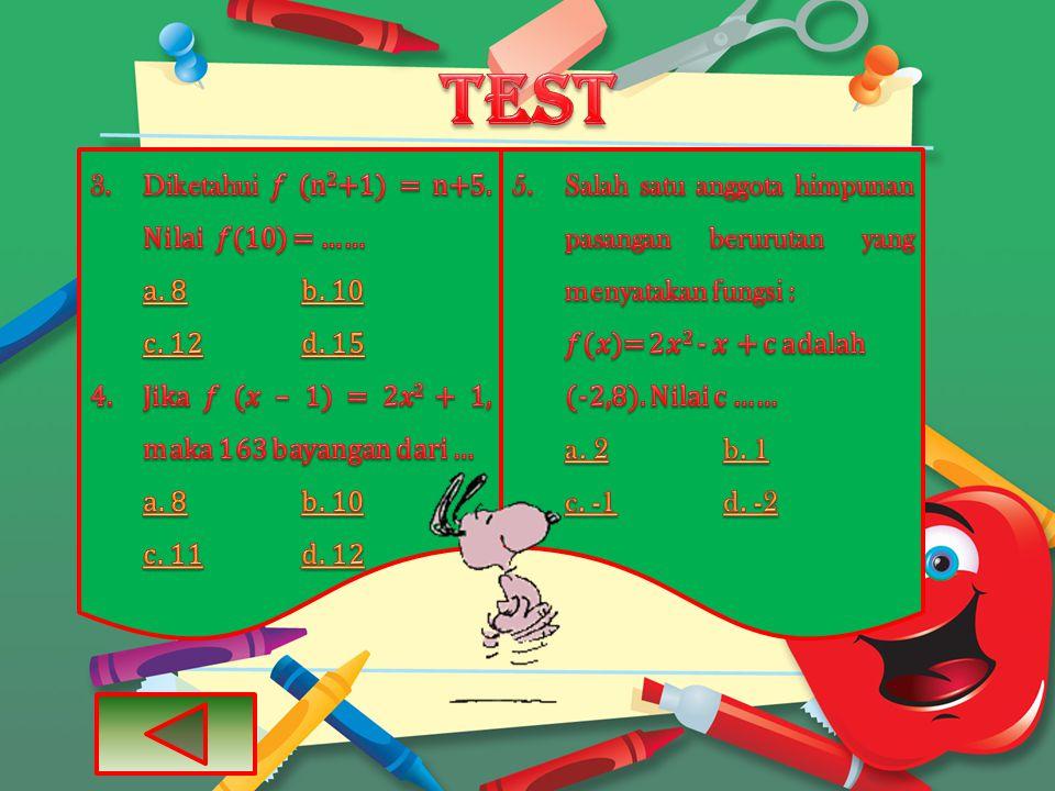 test Diketahui 𝑓 (n2+1) = n+5. Nilai 𝑓(10) = …… a. 8 b. 10 c. 12 d. 15