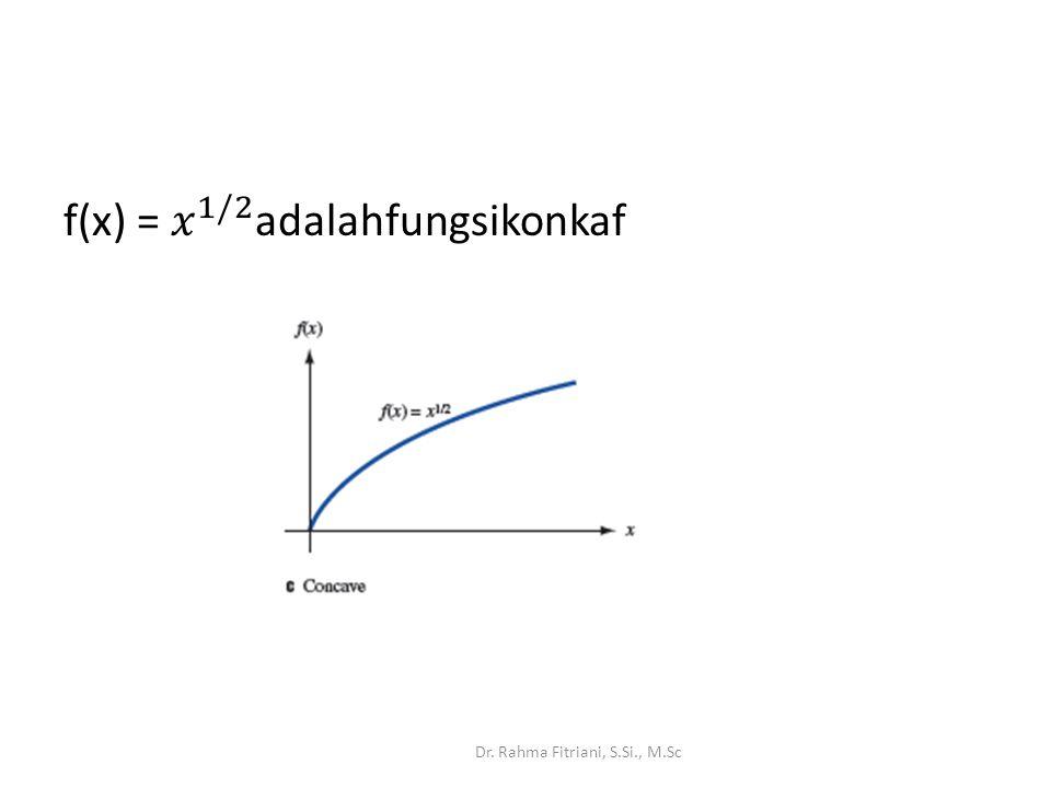 f(x) = 𝑥 1/2 adalahfungsikonkaf