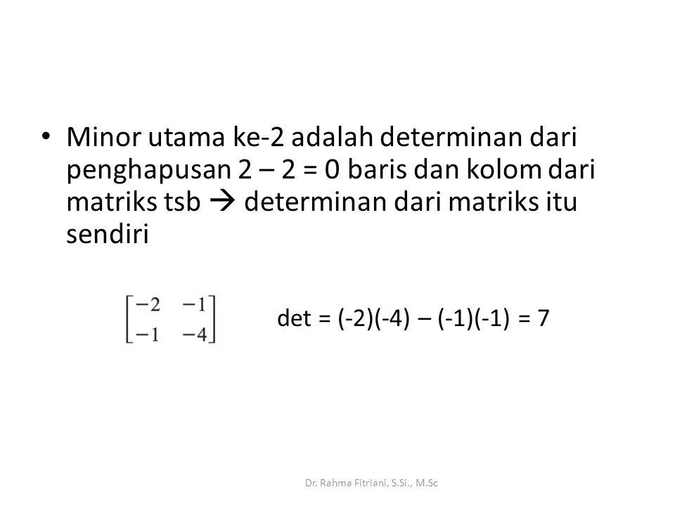 Minor utama ke-2 adalah determinan dari penghapusan 2 – 2 = 0 baris dan kolom dari matriks tsb  determinan dari matriks itu sendiri