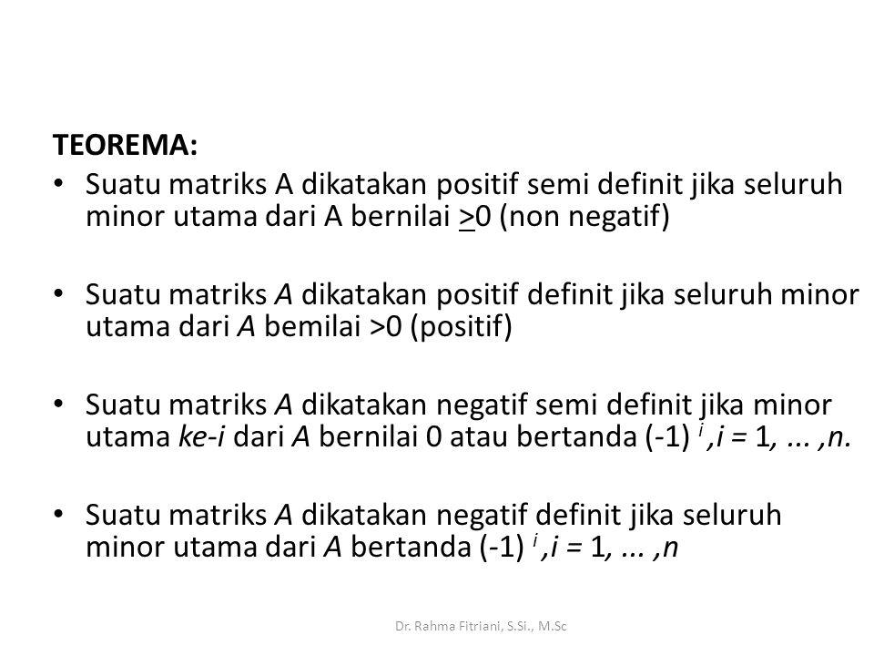 TEOREMA: Suatu matriks A dikatakan positif semi definit jika seluruh minor utama dari A bernilai >0 (non negatif)