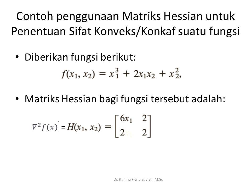 Contoh penggunaan Matriks Hessian untuk Penentuan Sifat Konveks/Konkaf suatu fungsi