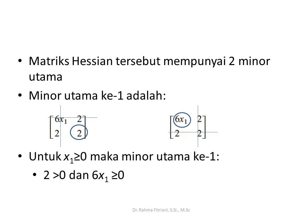 Matriks Hessian tersebut mempunyai 2 minor utama