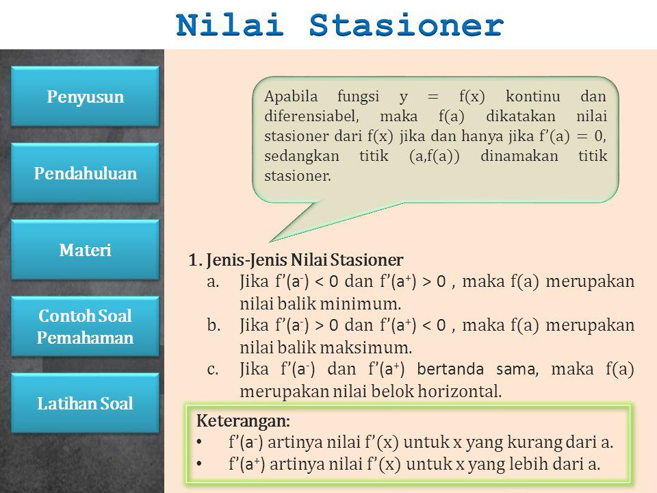 Nilai Stasioner Penyusun Pendahuluan 1. Jenis-Jenis Nilai Stasioner