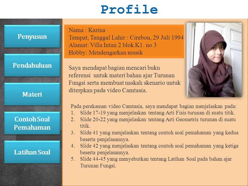 Profile Penyusun Pendahuluan Materi Contoh Soal Pemahaman Latihan Soal