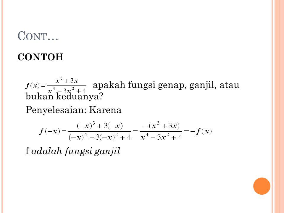 Cont… CONTOH apakah fungsi genap, ganjil, atau bukan keduanya.