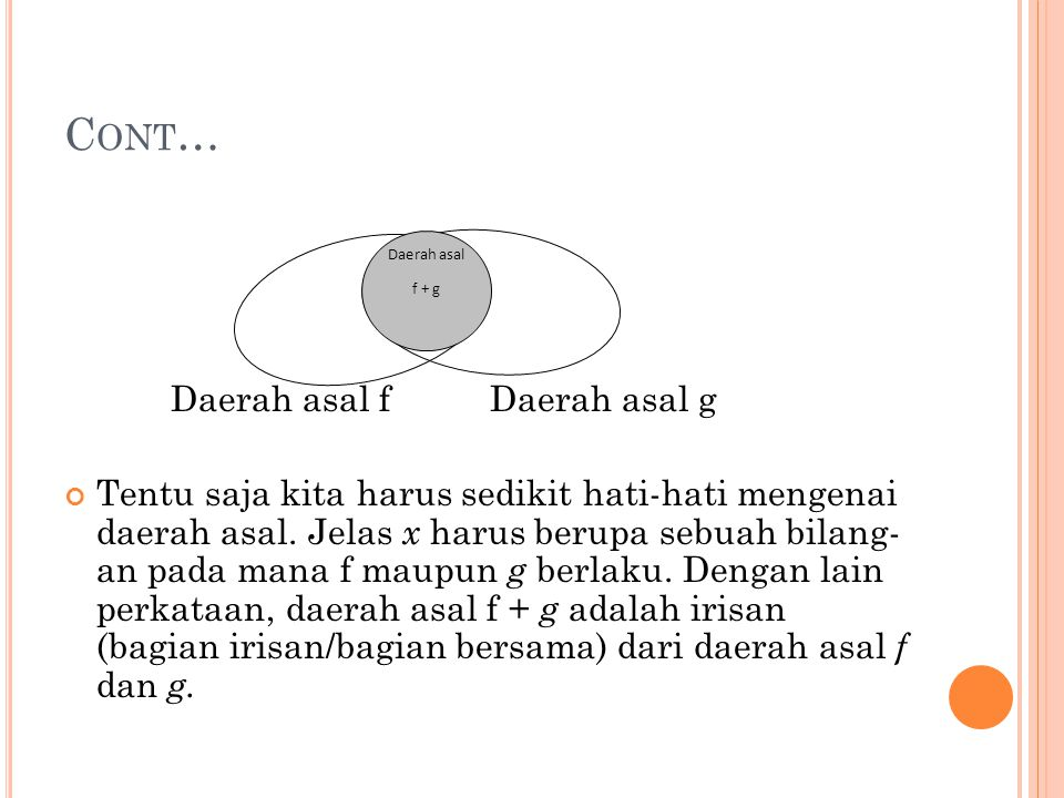 Cont… Daerah asal f Daerah asal g