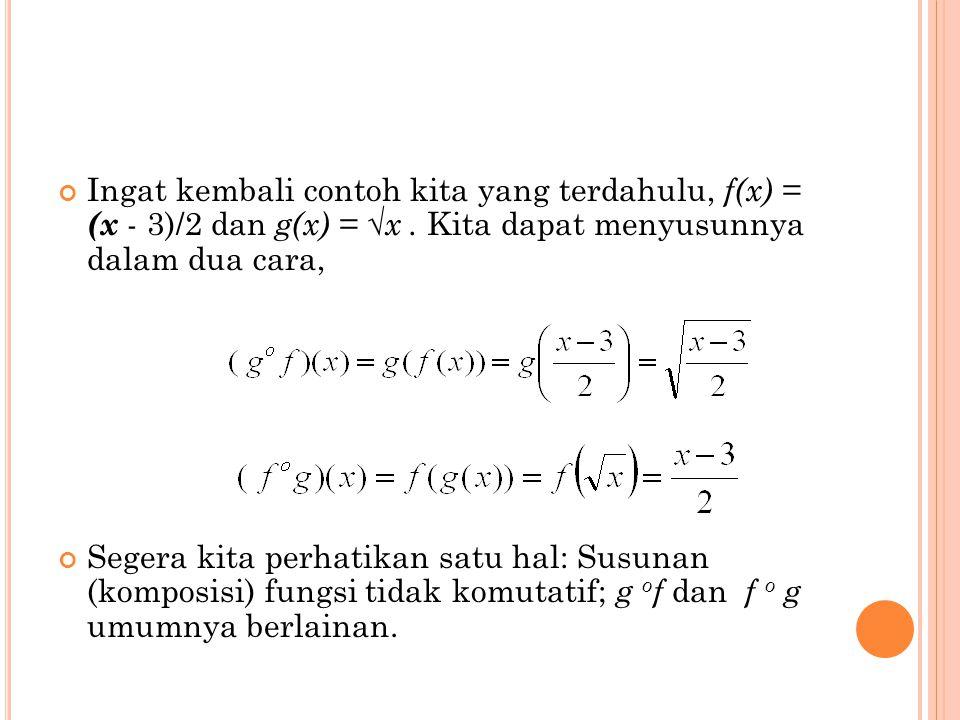 Ingat kembali contoh kita yang terdahulu, f(x) = (x - 3)/2 dan g(x) = √x . Kita dapat menyusunnya dalam dua cara,