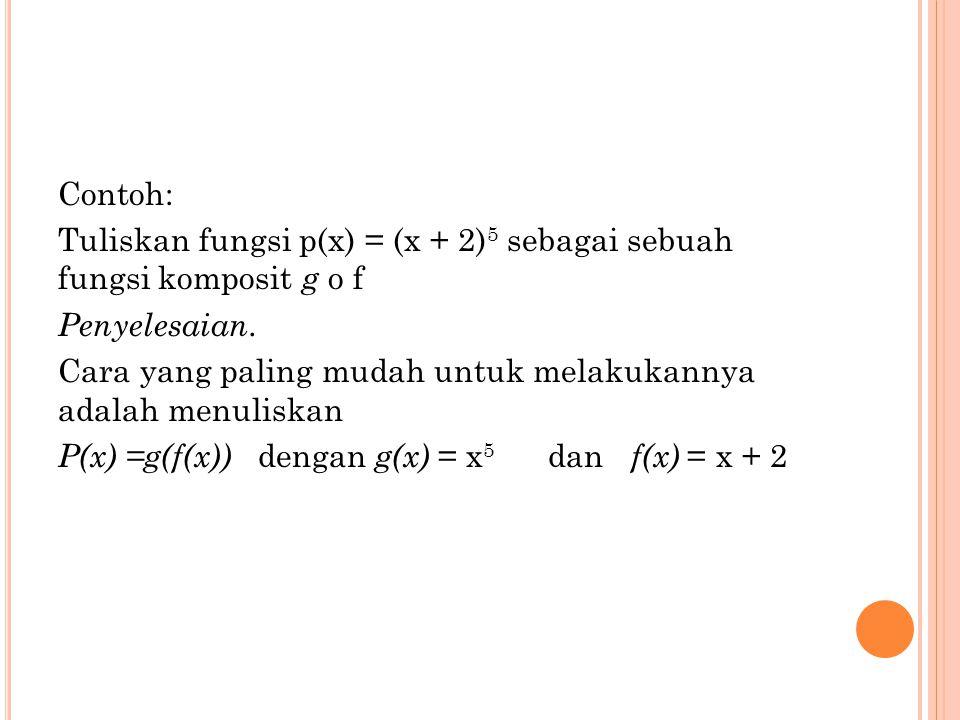 Contoh: Tuliskan fungsi p(x) = (x + 2)5 sebagai sebuah fungsi komposit g o f. Penyelesaian.