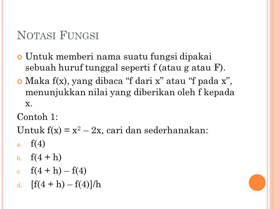 Notasi Fungsi Untuk memberi nama suatu fungsi dipakai sebuah huruf tunggal seperti f (atau g atau F).