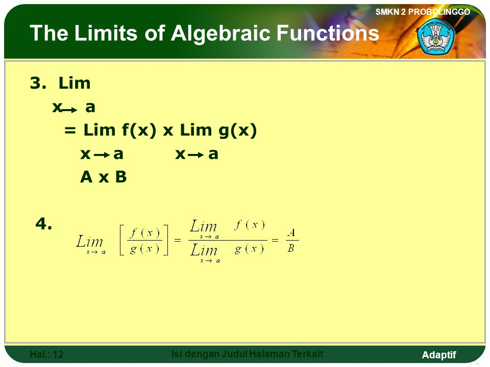 The Limits of Algebraic Functions