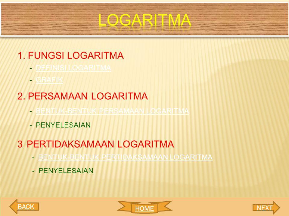 logaritma 1. FUNGSI LOGARITMA 2. PERSAMAAN LOGARITMA