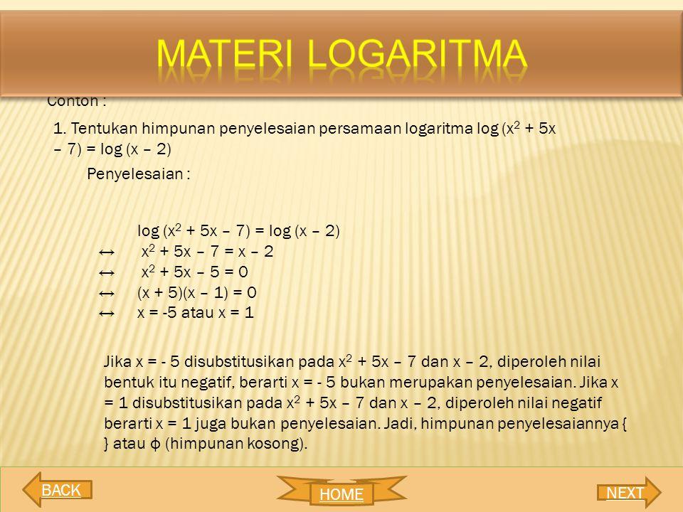 MATERI LOGARITMA Contoh :
