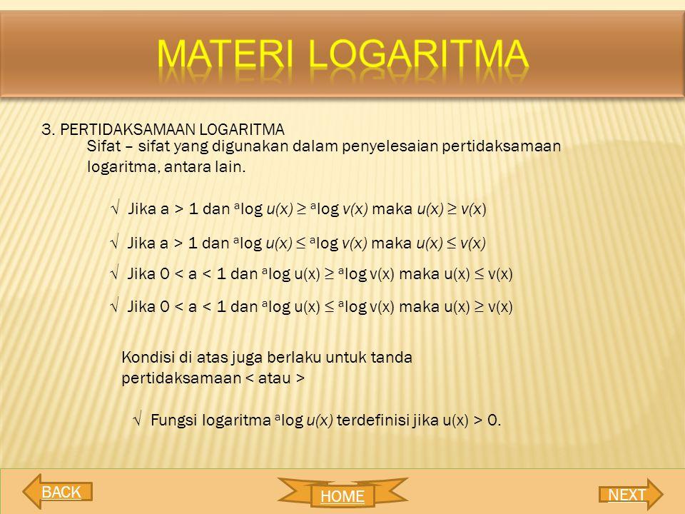 MATERI LOGARITMA 3. PERTIDAKSAMAAN LOGARITMA