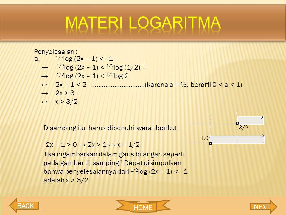 MATERI LOGARITMA Penyelesaian : 1/2log (2x – 1) < - 1