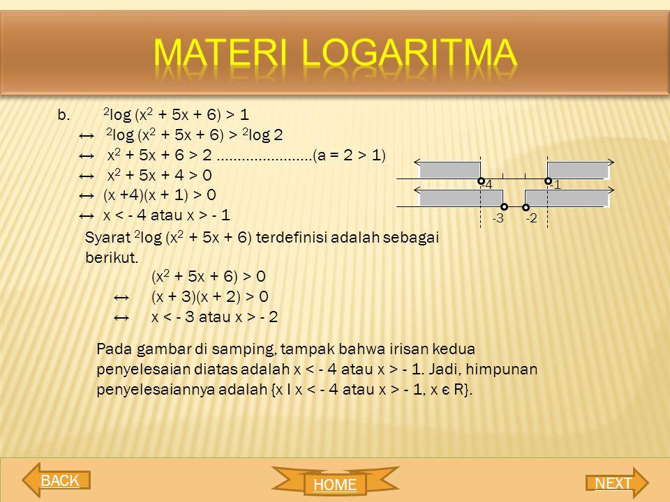 MATERI LOGARITMA 2log (x2 + 5x + 6) > 1