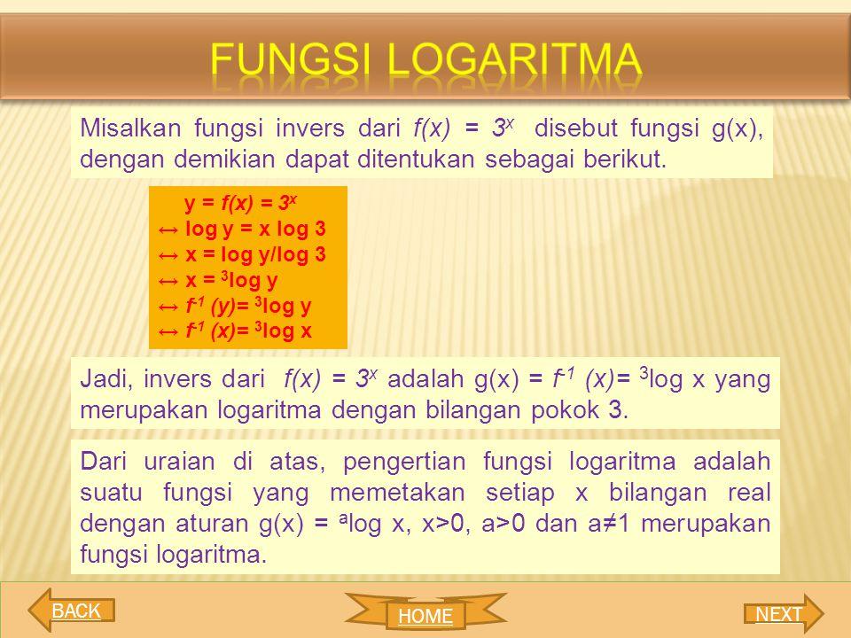 fungsi LOGARITMA Misalkan fungsi invers dari f(x) = 3x disebut fungsi g(x), dengan demikian dapat ditentukan sebagai berikut.